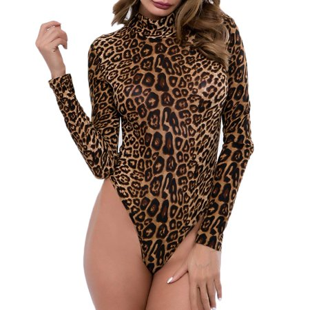 Women Sexy Ladies Slim Bodysuit Party Leopard Print Romper Stretch Leotard Top - Leopard Bodysuit
