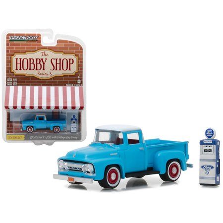 Truck Gas Mileage - 1954 Ford F-100 Pickup Truck Blue with Vintage Ford Motor Company Gas Pump 1/64 Diecast Model Car by Greenlight