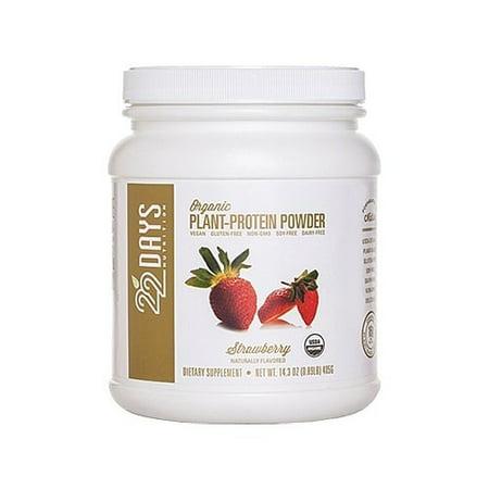 22 Days Nutrition plantes bio poudre de protéines, Fraise, 14.3 Oz