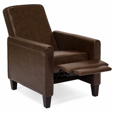 Best Choice Products Faux Leather Upholstered Modern Padded Executive Recliner Club Chair with Leg Rest, (Brown Modern Recliner)