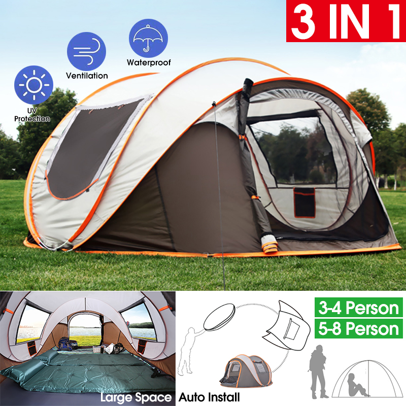 3-5 Person Automatic Family Camping Tent Outdoor Quick Open Dome