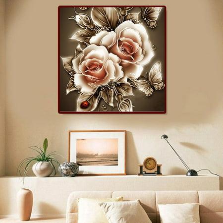 Dimensions Felt Embroidery Kit - 5D Frameless Retro Flower DIY Diamond Painting Cross Stitch Kit Embroidery Home Decoration