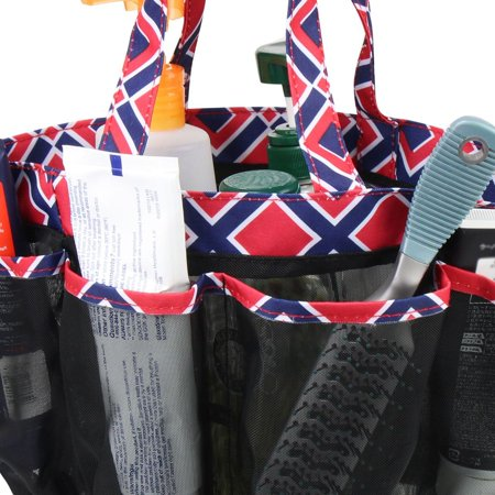 Zodaca Lightweight Mesh Shower Caddie Bag Quick Dry 7 Pocket Toiletry Bath Organizer Carry Tote Bag for Gym Camping Crafting - Blue Quatrefoil - image 1 de 4