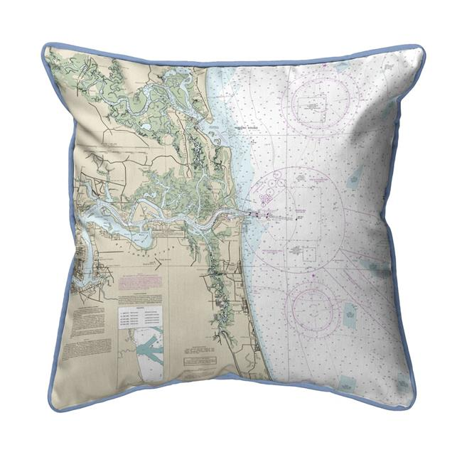 Betsy Drake HJ11488JB Jacksonville, FL Nautical Map Large Corded Indoor & Outdoor Pillow - 18 x 18 in. - image 1 of 1