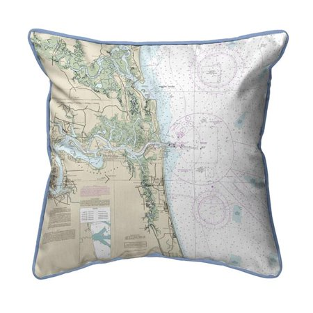 Betsy Drake HJ11488JB Jacksonville, FL Nautical Map Large Corded Indoor & Outdoor Pillow - 18 x 18 in. ()