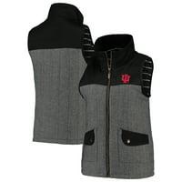 Indiana Hoosiers Women's Prep For It Herringbone Knit Full-Zip Vest - Black