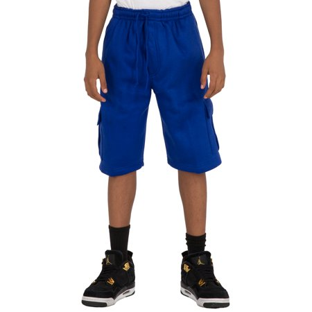 Vibes Boy's CVC Fleece Cargo Pull On Shorts Royal Blue Color relax Fit (Royal Robbins Canvas Shorts)