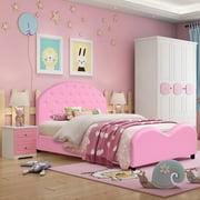 Costway Kids Children PU Upholstered Platform Wooden Princess Bed Bedroom Furniture Pink
