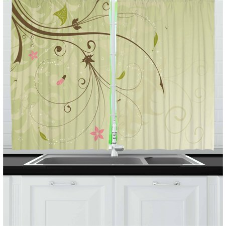 Green and Brown Curtains 2 Panels Set, Floral Arrangement with Swirls Lines Petal Buds Abstract Bouquet, Window Drapes for Living Room Bedroom, 55W X 39L Inches, Pale Green Brown Pink, by Ambesonne