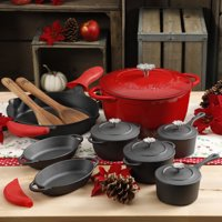 The Pioneer Woman Timeless 18-Piece Red Cast Iron Essential Set