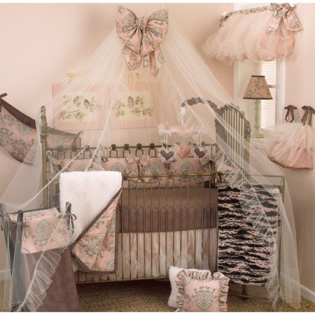 Pink And Brown Baby Bedding - Cotton Tale Designs Nightingale 7 Piece Crib Bedding Set