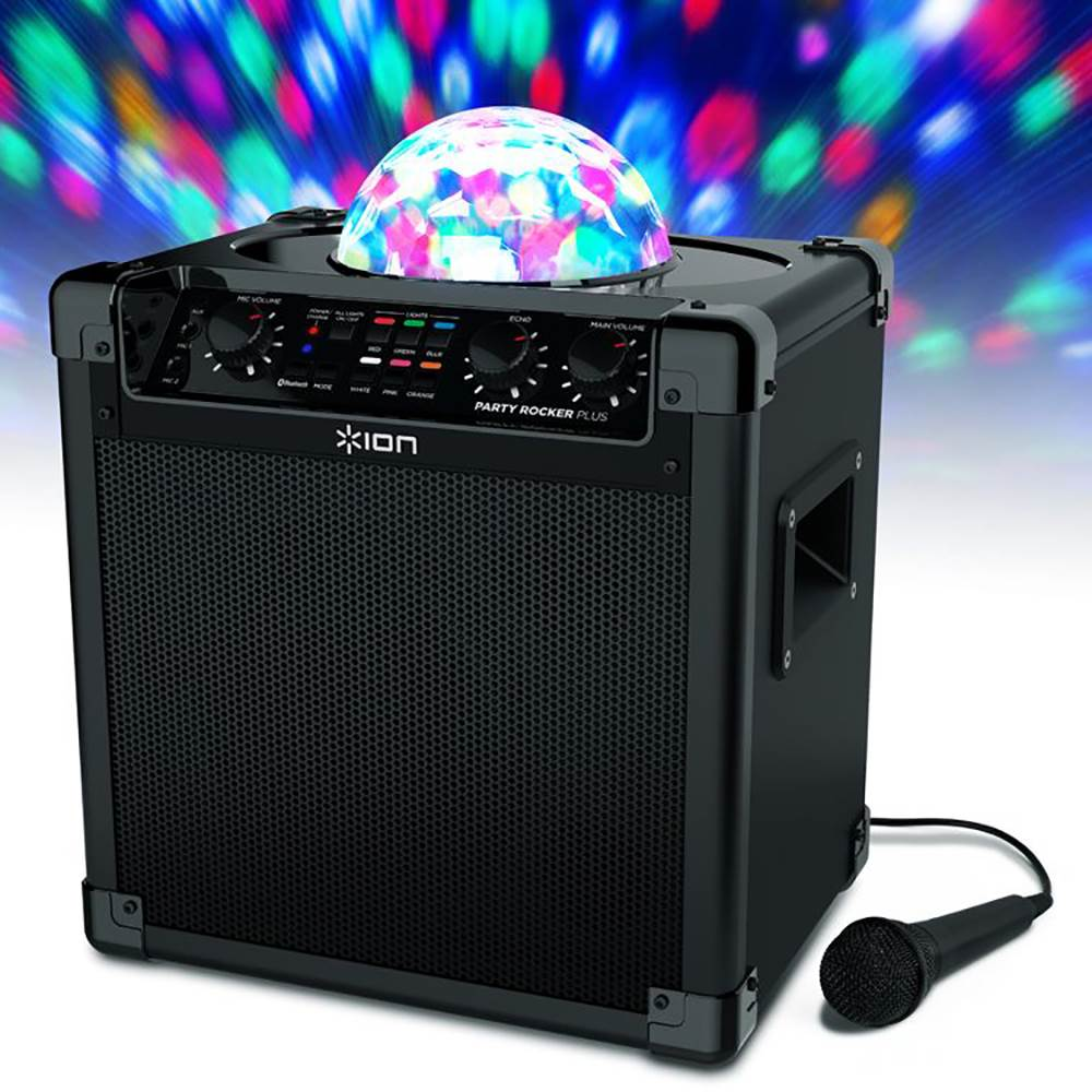 ION Audio Party Rocker Plus  Rechargeable Speaker with Spinning Party  Lights & Karaoke Effects (9W)