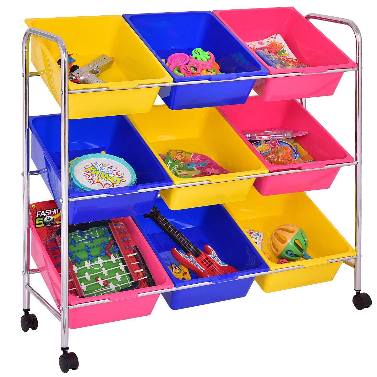 Costway Kids Toy Storage Shelf Organizer 9 Bins, Multi-colored Bin Cart ,Playroom