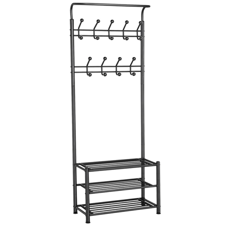 Topeakmart 3-Tier Multipurpose Coat Hat Metal Rack Organizer Hanger 18 Hooks Stand - Coat And Hat Rack