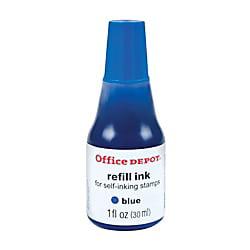 Office Depot Self-Inking Refill Ink, 1 Oz., Blue, - Office Depot Ink Refills
