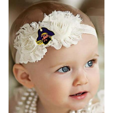East Carolina Pirates Baby/ Toddler Shabby Flower Hair Bow Headband (Pirate Headband)