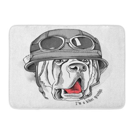 GODPOK Animal White Dog St Bernard Portrait in Retro Biker Helmet Motorcycle Aviator Rug Doormat Bath Mat 23.6x15.7 inch