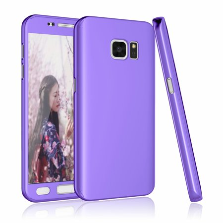 Galaxy S7 Case, Samsung Galaxy S7 Screen Protector, Tekcoo [T360] [Purple] Ultra Thin Full Body Coverage Protection Hard Slim Hybrid Cover Shell With Tempered Glass Screen Protector