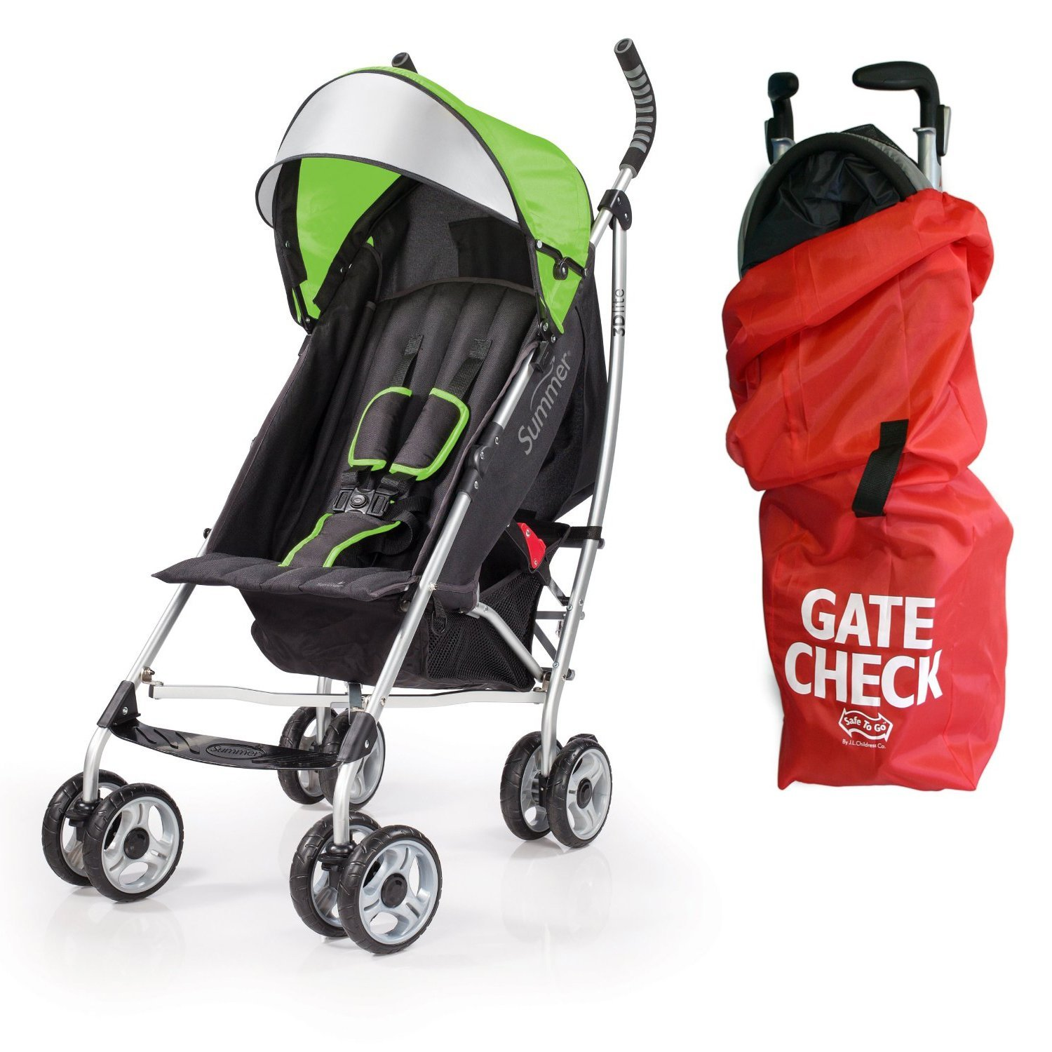 Summer Infant 3D Lite Convenience Stroller with Airport Gate Check Travel Bag, Green