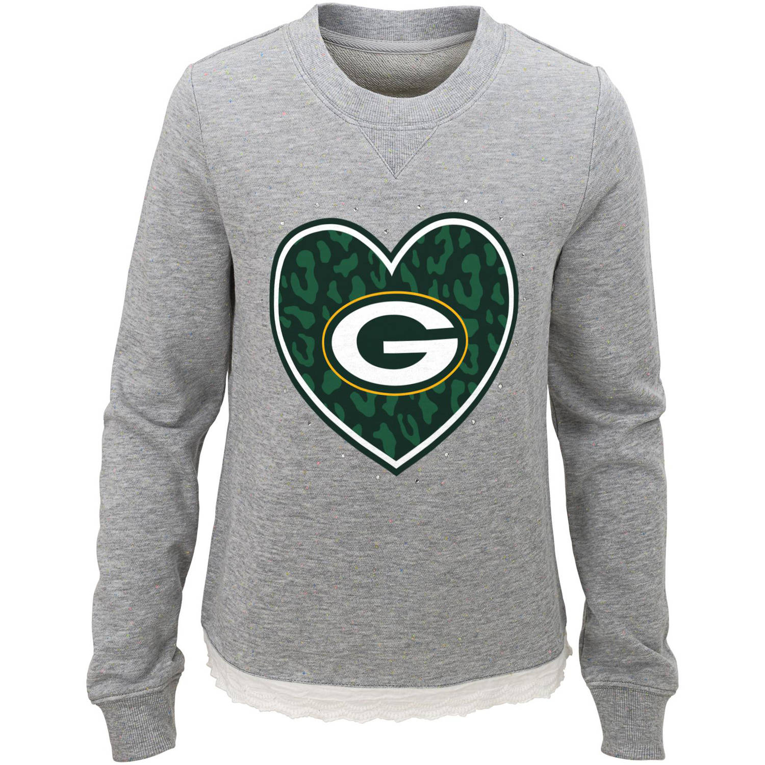 NFL Girls Packers Long Sleeve French Terry Crew Neck Fleece