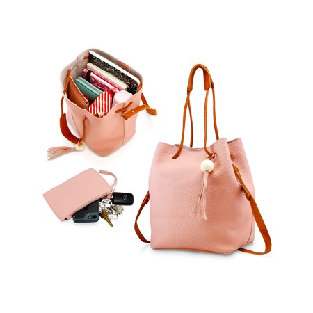 - Fashion Tassel buckets Tote Handbag Women Messenger Hobos Shoulder Bags Crossbody Satchel Bag - Light Pink