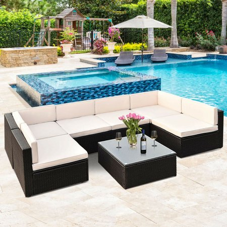 Gymax Patio Garden 7PC Furniture Set Rattan Wicker - image 5 of 10