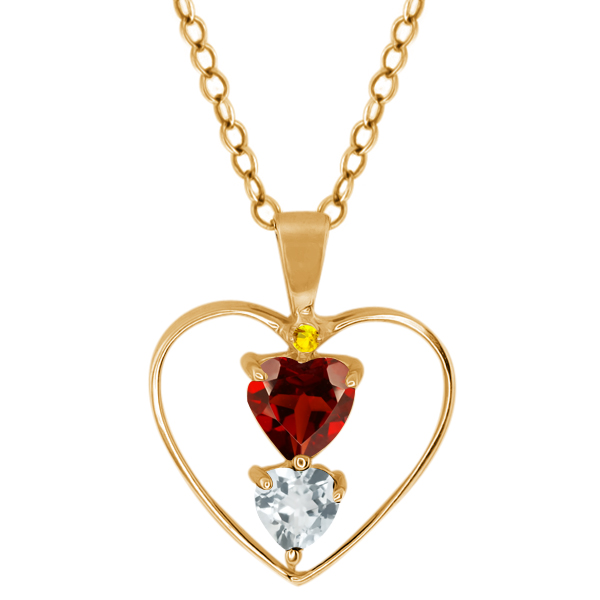 0.72 Ct Heart Shape Red Garnet Sky Blue Aquamarine Gold Plated Silver Pendant