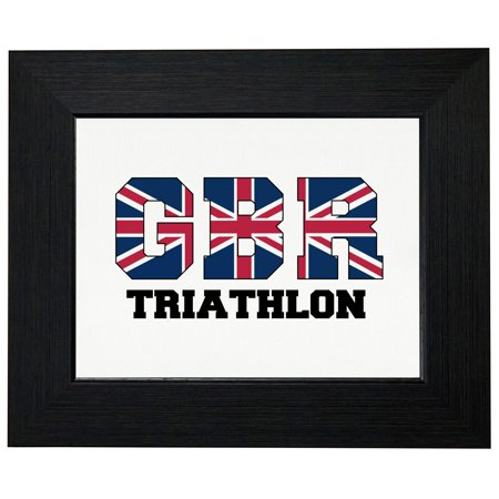 Great Britain Triathlon - Olympic Games - Rio - Flag Framed Print Poster Wall or Desk Mount (British Triathalon)