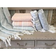 Authentic Hotel and Spa Authentic Anatolia Stripes and Dots Turkish Cotton Terry Pestemal Fouta Bath and Beach Towel