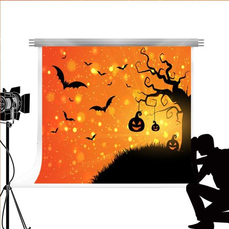 Halloween Pumpkin Cartoons For Children (ABPHOTO Polyester Photography Background Bokeh Halloween Photo Backdrop Cartoon Pumpkin for Kids Studi Photos)