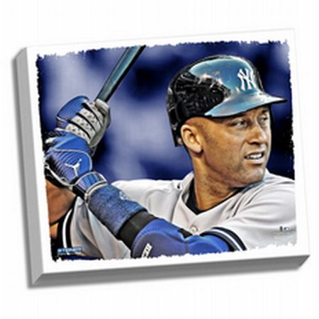 New York Yankees Derek Jeter At Bat Close Up 22X26 Stretched Canvas