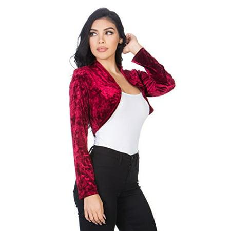 - Fashion Secrets Women`s Collarless Open Front Velvet Bolero Shrug Cardigan Cropped Jacket (Large, Burgundy Red)