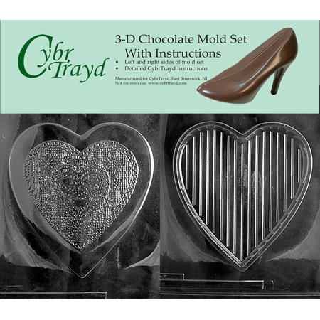 Cybrtrayd V301AB Chocolate Candy Mold, Includes 3D Chocolate Molds Instructions and 2-Mold Kit, Pour Heart Fancy Heart Top 3 D Candy Molds