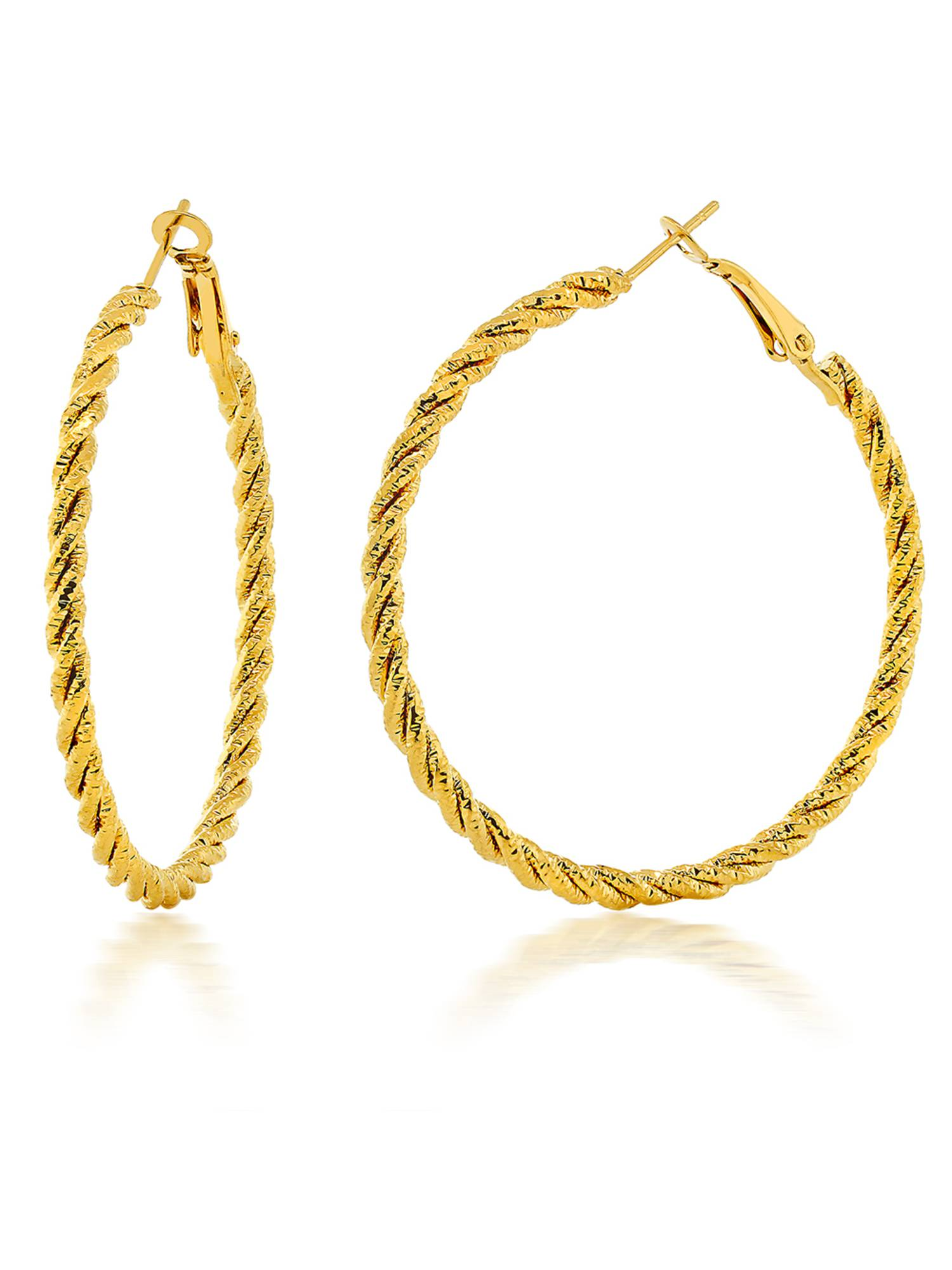 2 Inch Large Twisted Hoop Yellow Gold Plated Earrings