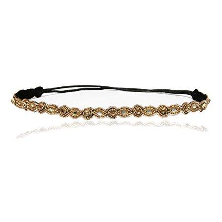 Bridal Thin Champagne Crystal Rhinestone Diamond Headband Adjustable Elastic