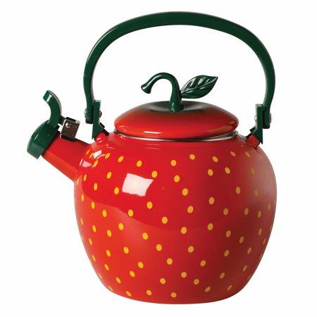 Whistling Fruit Shaped Tea Kettle - Enamel - Strawberry