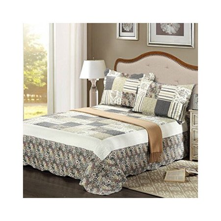 Tache Home Fashion Plaid Morning Flower Galore Bedspread Set