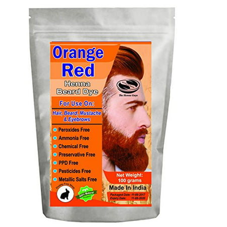 1 Pack of Orange Red Henna Beard Dye For Men 100 Grams - The Henna Guys - Beard Dye Walmart