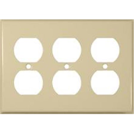 Morris Products 83233 Stainless Steel Metal Wall Plates 3 Gang Duplex Receptacle Ivory - image 1 of 1