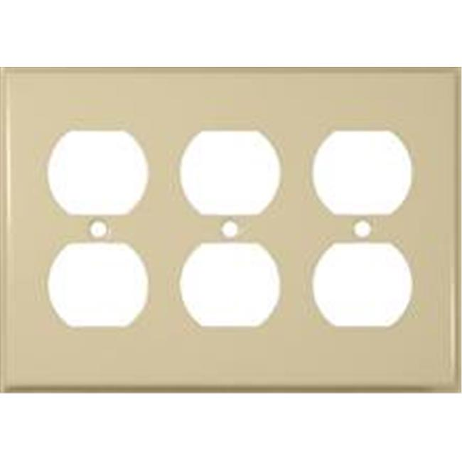 Stainless Steel Metal Wall Plates 3 Gang Duplex Receptacle Ivory