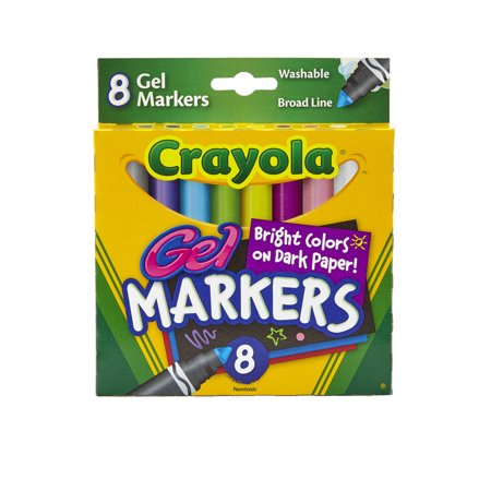 Crayola Non-Toxic Washable Gel Marker Set, Conical Tip, Assorted Colors, 8 Count (Crayola Gel Markers)