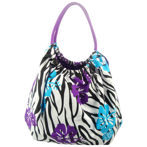 Animal Flowers Bubble Bag, Blue/Purple Zebra
