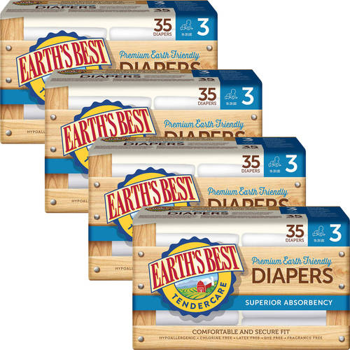 Earth's Best - TenderCare Chlorine-Free Diapers, Size 3, 35 Count (Pack of 4)