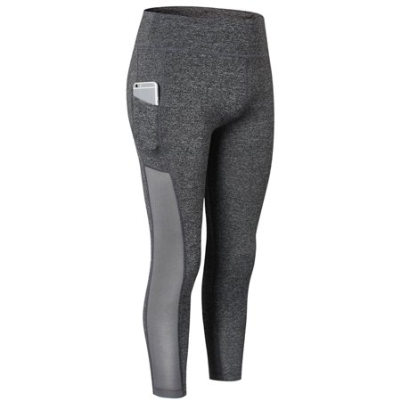 Casual Women Plus Size Compression Tights Fitness Leggings Running Stretch Yoga Pants with Pocket Activewear  Grey Yoga Pants