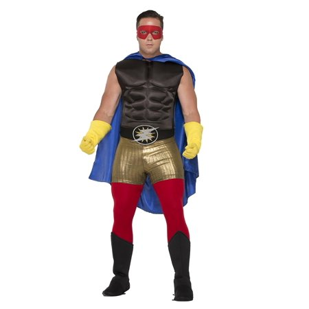 Adult Hero Muscle Chest Black Mens Superhero Costume Accessory One Size - Mens Superhero Costumes