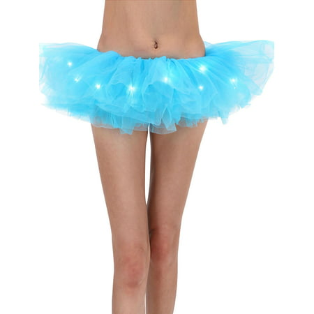 Adult Tutu Women's LED Light Up Neon Tulle Tutu Skirt for Club Party, Sky blue