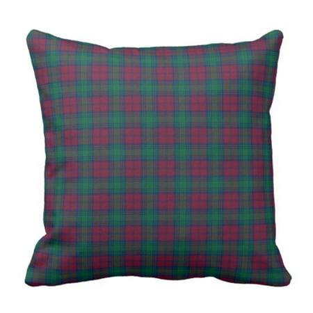 BPBOP Red Tartan Maroon and Green Lindsay Scottish Plaid Blue Dark Pillowcase Cushion Cover 20x20