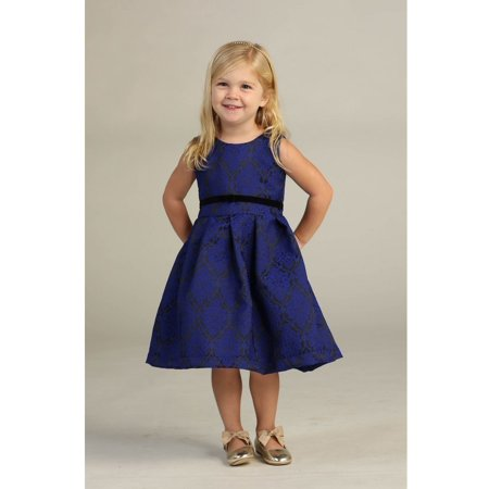 Angels Garment Toddler Girls Royal Blue Pleated Jacquard Dress - Toddler Belle Dress