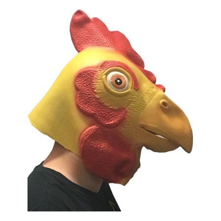 Adults Funny Rooster Chicken Animal Full Overhead Latex Mask Costume - Costume Chicken
