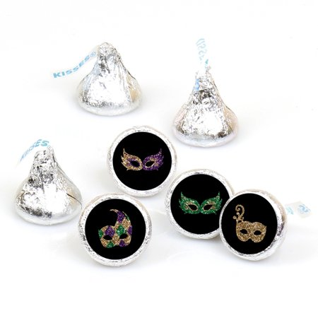 Mardi Gras - Masquerade Party - Round Candy Sticker Favors - Labels Fit Hershey's Kisses (1 sheet of 108) - Masquerade Party Ideas